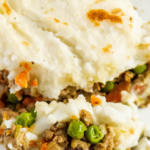 Pinterest image of Shepherd's Pie with logo writing on it.