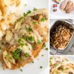Pinterest image with wiring of crockpot french onion chicken