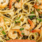 Pinterest image of Shrimp Scampi with text details.