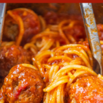 Photo of spaghetti and meatballs with wording on top for pinterest.