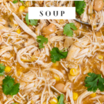 Pinterest image of salsa verde chicken soup with wording on top.