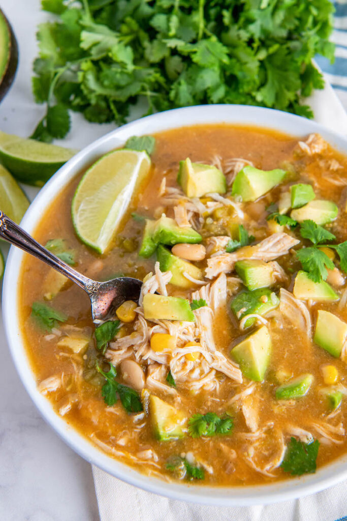 Close up of crockpot salsa chicken soup in a bowl with avocado, cilantro, lime and a spoon.