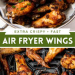 Collage image of chicken wings in a large bowl and chicken wings in an air fryer basket.