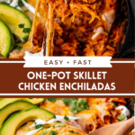 Collage image of a wood spoon pulling out a spoonful of cheesy skillet enchiladas and an image of pan filled with enchiladas with a spoon stuck into the skillet.