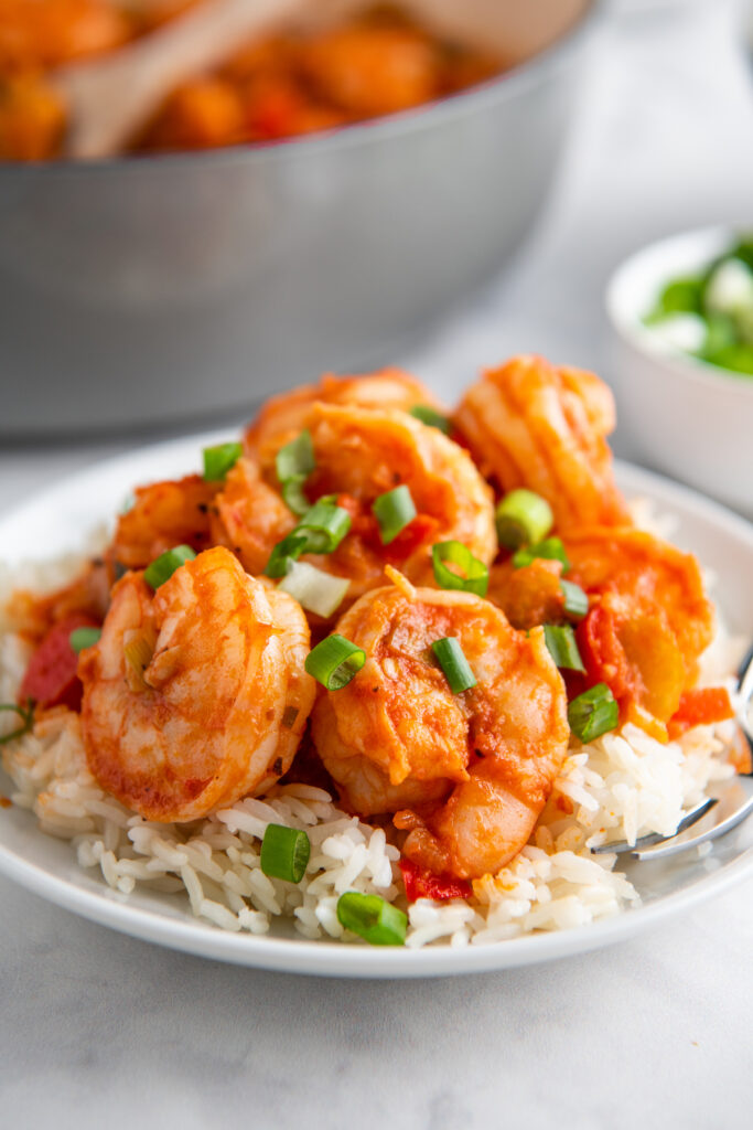 plated shrimp on a bed of rice