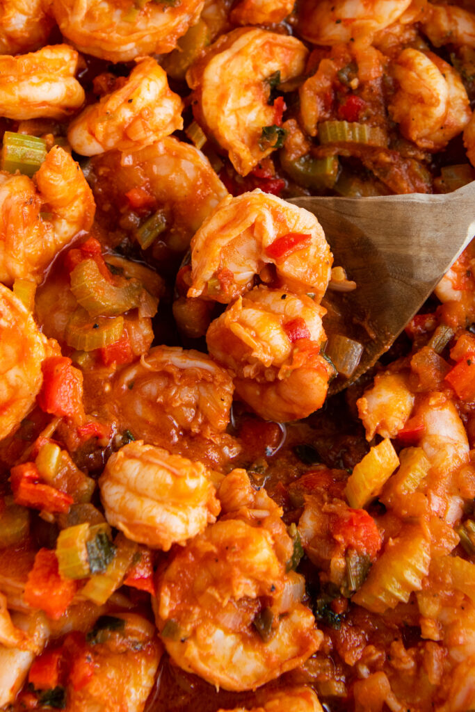 shrimp cooked in a tomato sauce