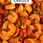 Large skillet filled with shrimp creole.