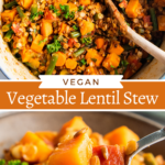Collage image of a spoon is lifting a bite of stew from a full bowl and A wooden spoon is stirring all of the ingredients for lentil stew in a dutch oven.