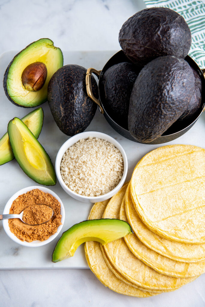 Ingredients for air fried avocado tacos