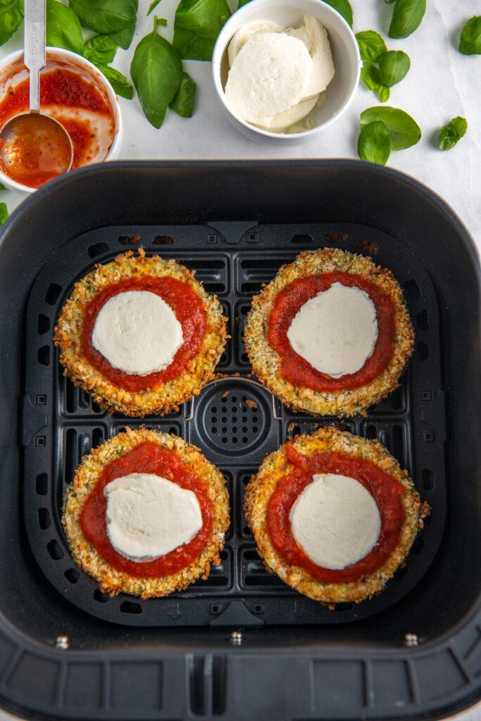 eggplant parmesan with marinara and mozzarella in an air fryer