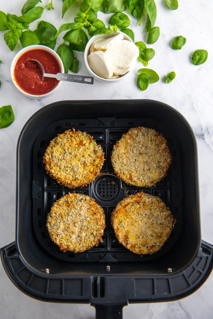Eggplant parmesan cooked in an air fryer