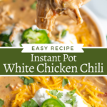 Collage image of white chili on a spoon and an overhead shot of instant pot white chicken chili in a bowl with sour cream and jalapeño on top.