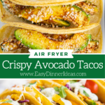 Collage image of tortillas stuffed with air fried avocados and taco stuffed with filling and lined up on a white plate.