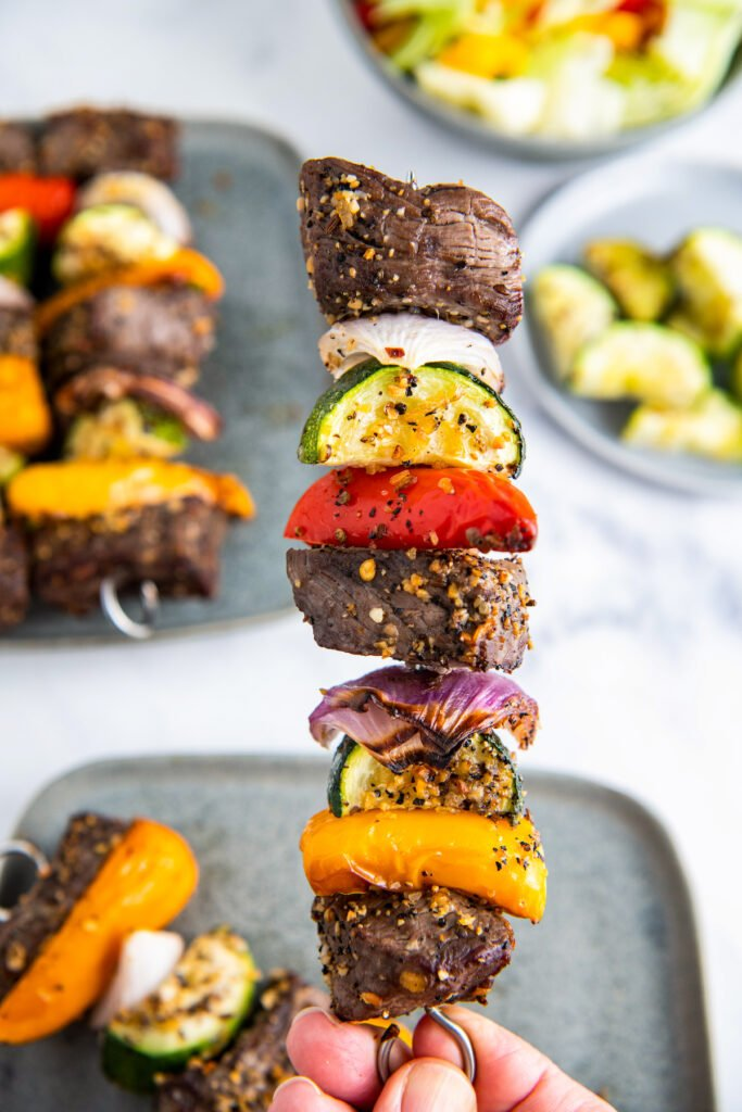 Shish Kabob with steak, sweet peppers, zucchini and red onion