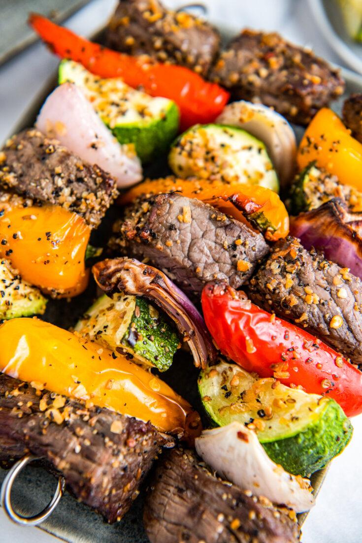 Shish kabobs on a plate