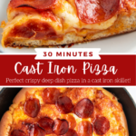 Overhead image of pepperoni pizza in cast iron and an image of a slice of pizza on a white plate.
