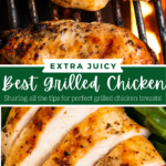 Collage image of chicken breasts on a grill and then sliced chicken breasts on a plate.