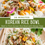 Collage image of Korean rice bowl, up close image with chopsticks and overhead image.