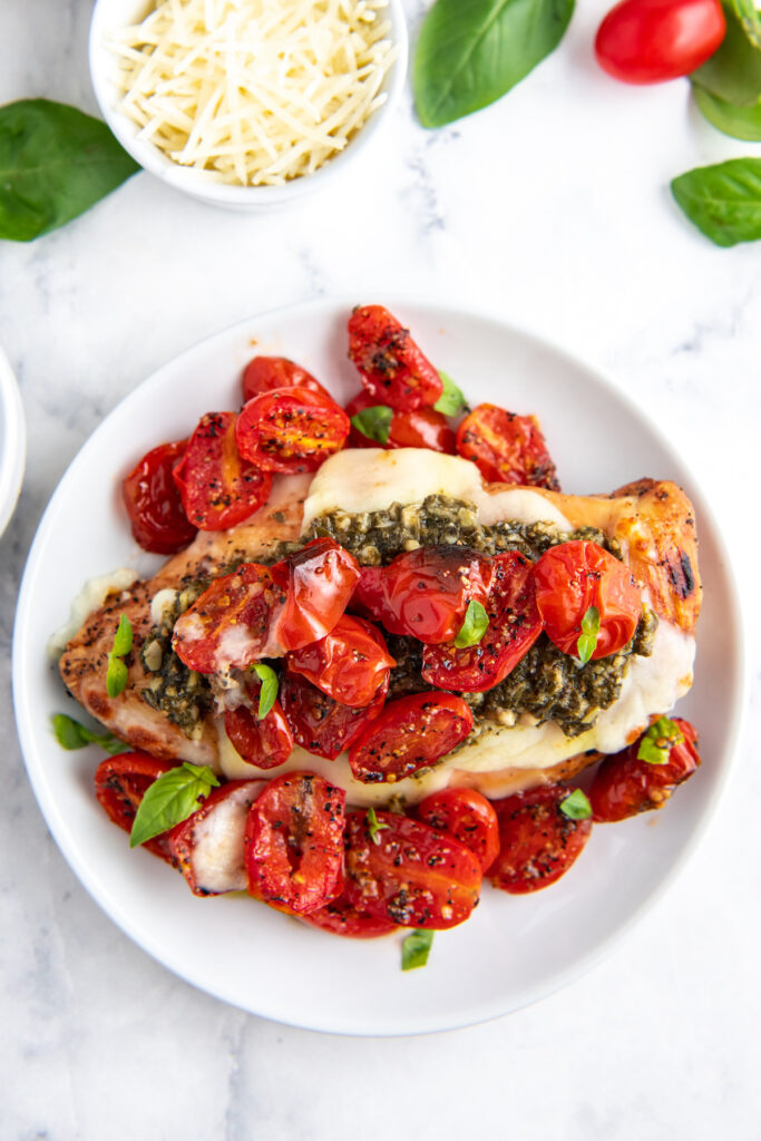 Chicken breast on a white plate with tomatoes and fresh basil on top.