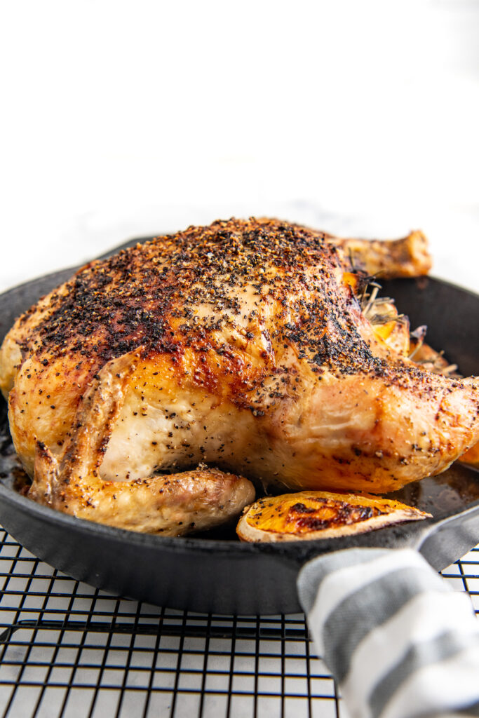 Side view of a roasted chicken in a skillet on a baking rack.