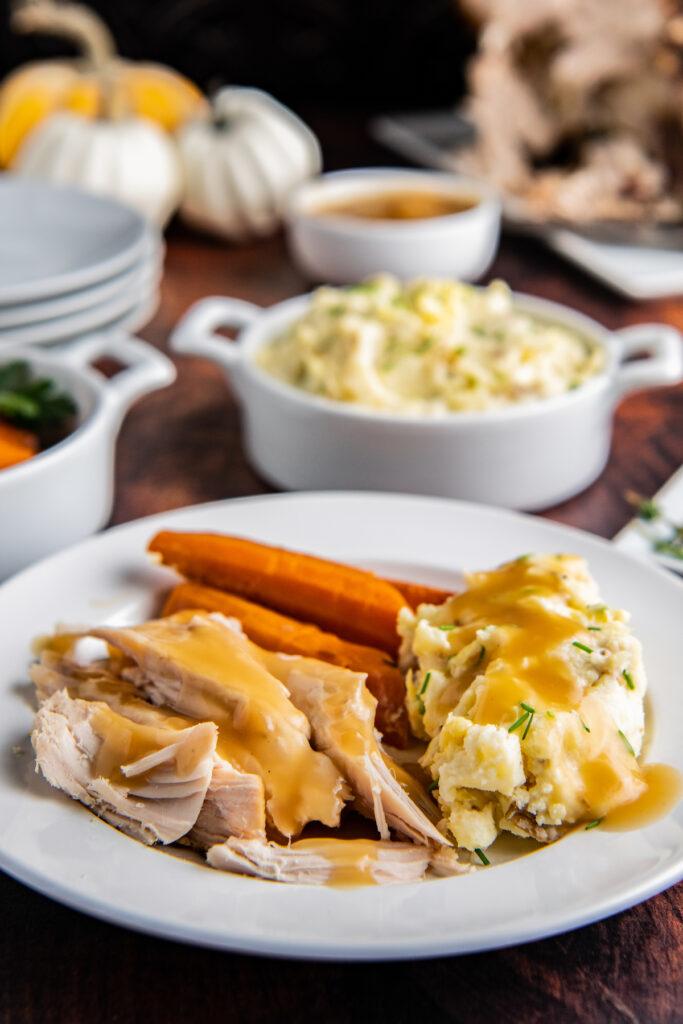 turkey meal on a serving platter