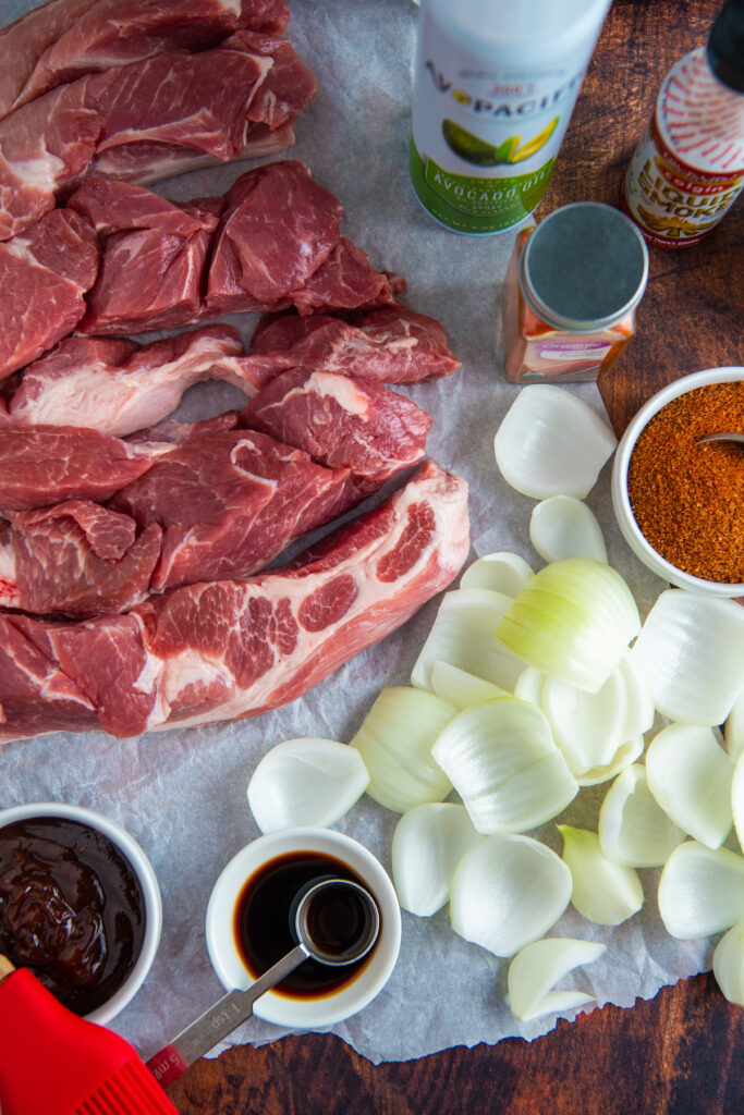 ingredients for slow cooker country ribs on table