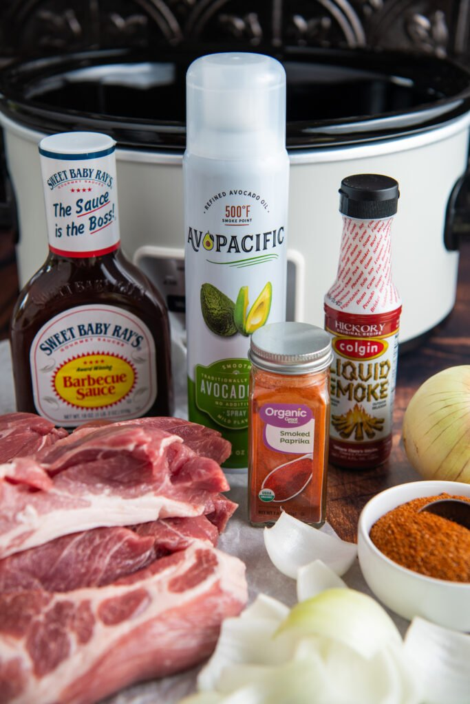 ingredients for country style ribs in front of the slow cooker