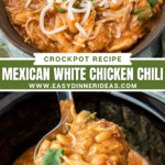 A crockpot full of white chili with a ladle scooping up the chili and an image of mexican white chicken chili in a bowl with cheese and cilantro on top.