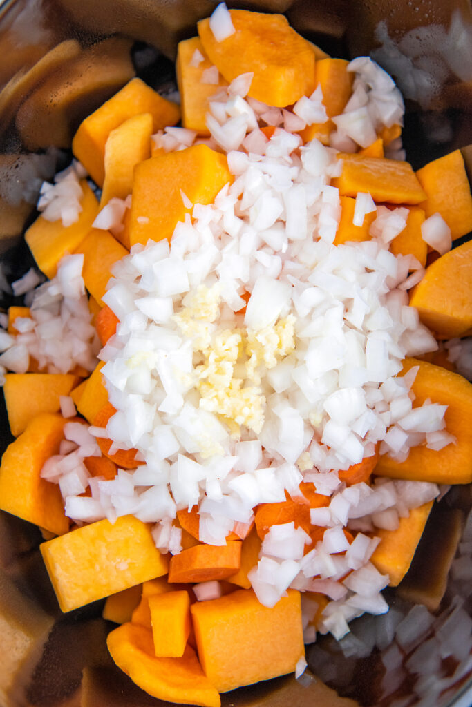 Butternut squash with onion and garlic on top in a crockpot insert.