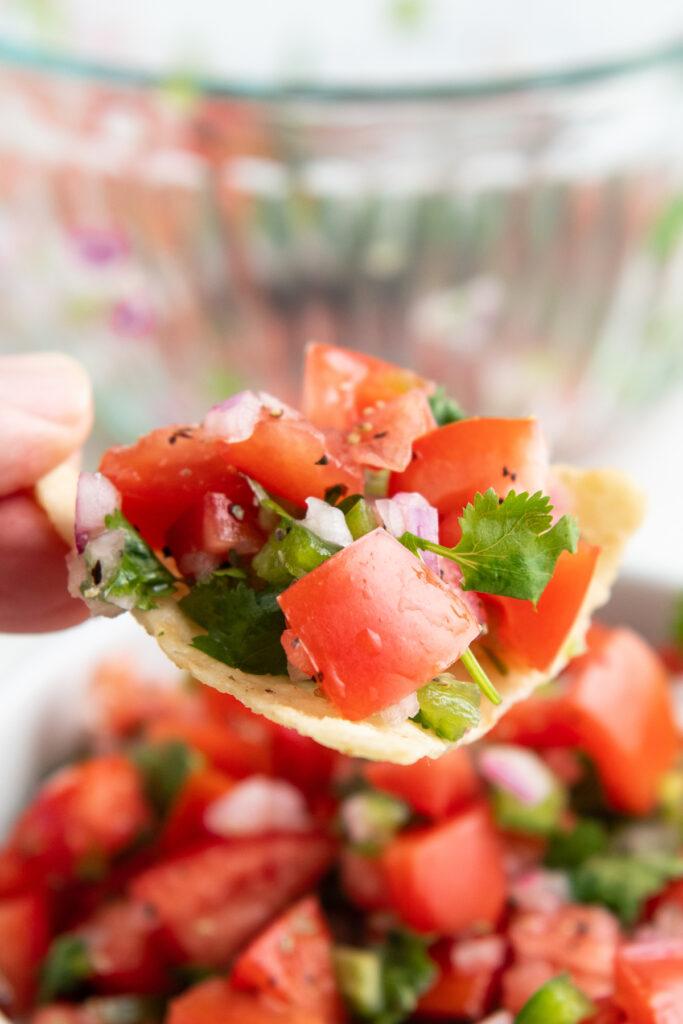 Fresh pico de Gallo on a tortilla chip.